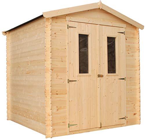 TIMBELA Holzhaus Gartenhaus M343C+M343G - Gartenschuppen Holz mit Boden Imprägnierte B216xL206xH218...