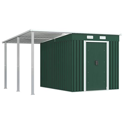 vidaXL Geräteschuppen mit erweitertem Dach Schiebetüren Lüftungsklappen Gerätehaus Gartenhaus...
