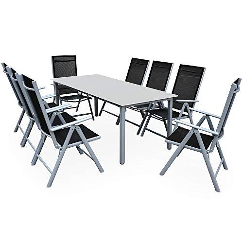 Casaria Sitzgruppe Bern 8+1 Aluminium 7-Fach verstellbare Hochlehner Stühle Milchglas Tisch Silber...