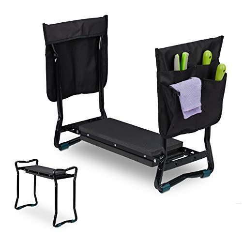 Relaxdays Kniebank für Gartenarbeit, klappbar, bis 150kg, inkl. 2 Taschen, gepolsterte Kniehilfe,...