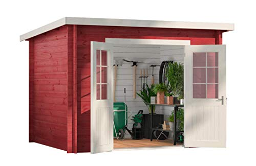 CARLSSON Alpholz Gartenhaus Maria aus Massiv-Holz | Gerätehaus mit 28 mm Wandstärke | Garten...