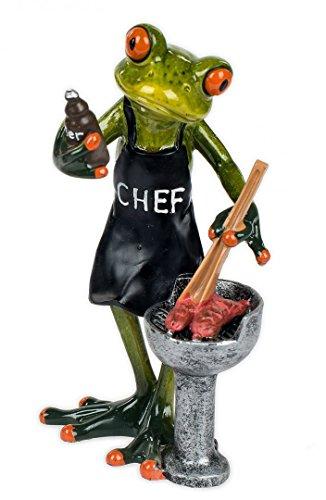 Frosch mit Grill Kröte Lurch Deko Tier Figur Skulptur Froschkönig Laubfrosch