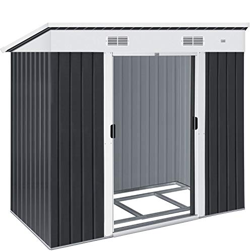 KESSER® - Gerätehaus L Metall 3,4 m³ mit Fundament | 196x122x180 cm | 2X Schiebetür & Fundament...