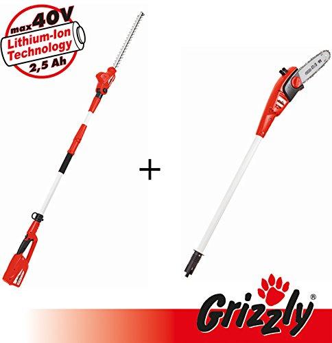 Grizzly 40V 2in1 Set, Set aus Teleskop Heckenschere und Hochentaster, Griffelemente mit...