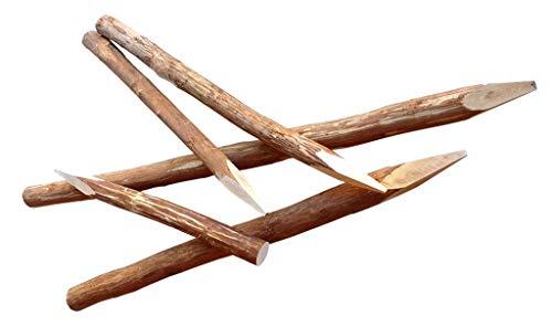 Zaunpfosten Haselnuss 120 cm - Naturbelassen und entrindet - Rundholzpfosten für Staketenzäune