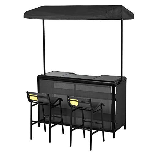 Outsunny Outdoor-Bartisch Set, Bistrotisch mit Dach, 2 Barstühle, 3 TLG. Sitzgruppe, Teslin, 145 x...