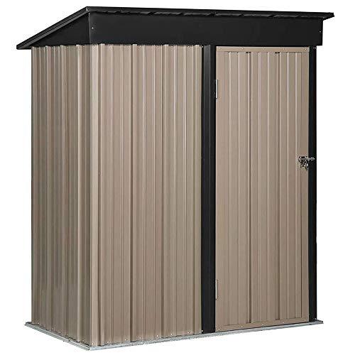 YOLEO Gerätehaus Metall 4x3m, Geräteschuppen mit Pultdach, Gartenhaus für Werkzeug
