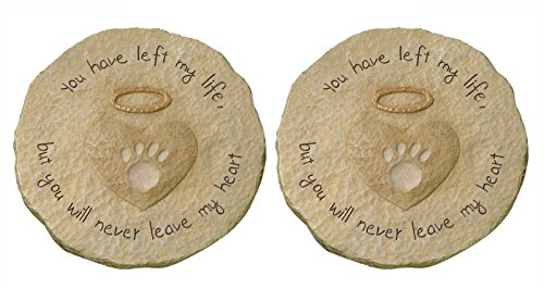 Grasslands Road Beloved You Will Never Leave My Heart Paw Print mit Halo Pet Remembrance Trittstein...