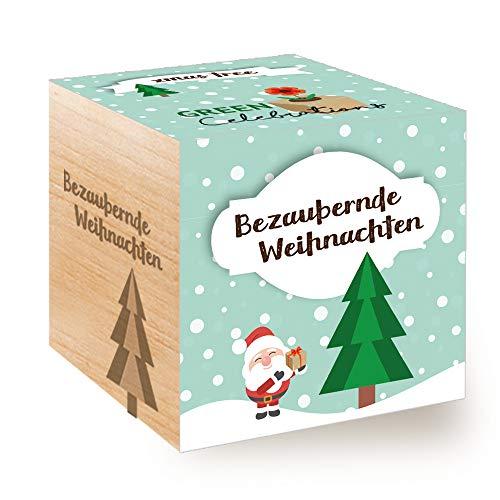 Feel Green Celebrations Ecocube, Weihnachtsbaum, Holzwürfel Mit Lasergravur «Bezaubernde...