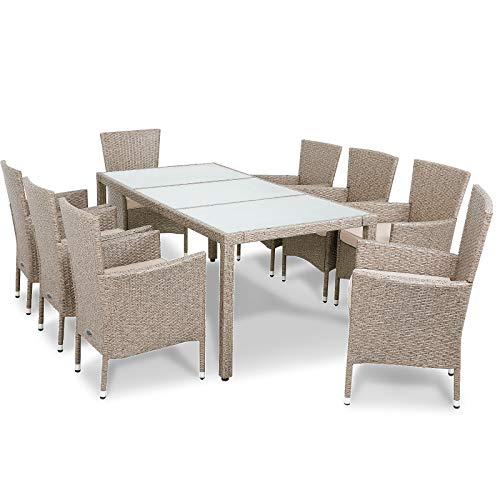 Deuba Poly Rattan Sitzgruppe 8 Stapelbare Stühle Gartentisch 7cm Auflagen Sitzgarnitur Gartenmöbel...
