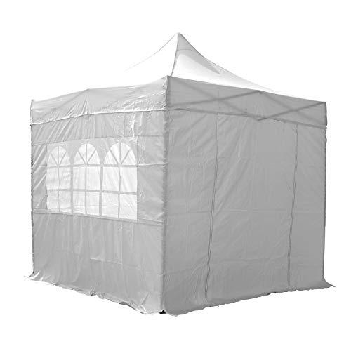 Airwave Pop-Up-Pavillon, 2,5 x 2,5 m, weiß, wasserfester GartenPavillon, 2 Windstangen und 4...