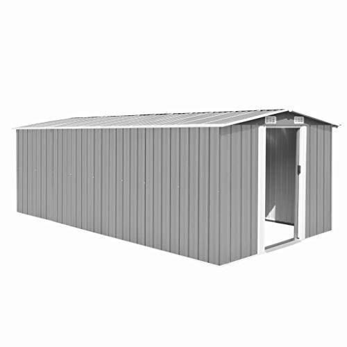 vidaXL Gerätehaus 257x497x178cm Metall Grau Geräteschuppen Schuppen Gartenhaus