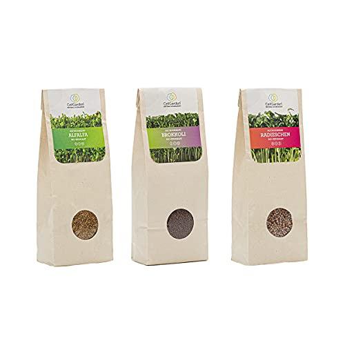 Cell Garden® Bio Microgreens Samen 3er Set [600g]   200g – Brokkoli, 200g – Radieschen, 200g...