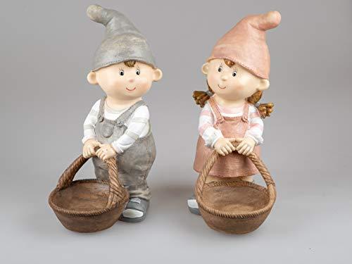 Sommerkinder Gartenfiguren stehend mit Körbchen cm hoch im 2er Set Felix und Suse