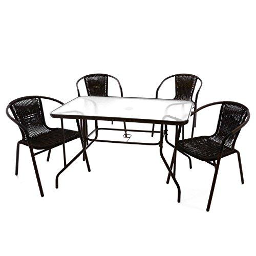 Nexos 5-teiliges Gartenmöbel-Set – Gartengarnitur Sitzgruppe Sitzgarnitur aus Bistrostühlen &...
