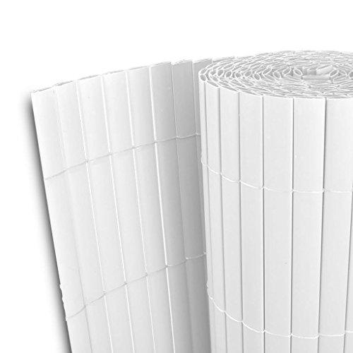 Festnight Gartenzaun Sichtschutzmatte Sichtschutzzaun Doppelseitig 90×500 cm Weiß