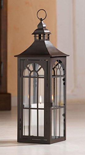 Große Laterne aus Metall & Glas, 45 cm hoch, Gartenlaterne, braun