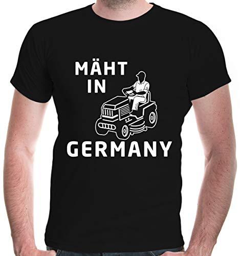buXsbaum® Herren T-Shirt Mäht in Germany | Rasenmäher Garten | XL, Schwarz