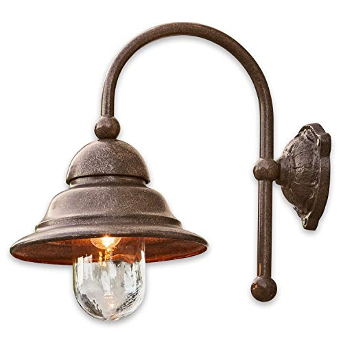 Loberon Außenwandlampe Keela, Eisen, Aluminium, Glas, H/B/T 46/26 / 43 cm, antikbraun, E27, max. 40...