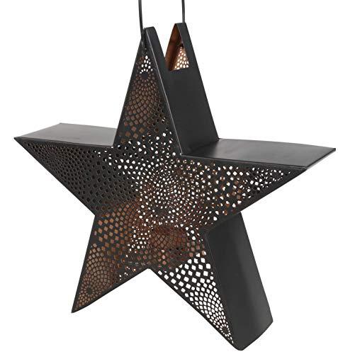 Lesli Living Windlicht Laterne Stern mit Griff 34x10x33 cm Metall (schwarz/Kupfer)