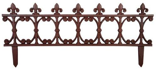 Esschert Design Beetzaun, Zierzaun, breit, aus rötlichem Gusseisen, ca. 82 cm x 36 cm