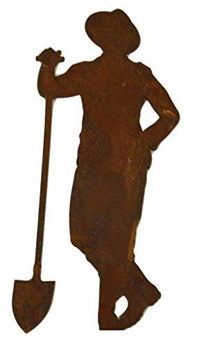 Garten Figur zum Stecken - Material: Rost - Gärtner mit Schaufel - Höhe 175cm - Hochwertige...