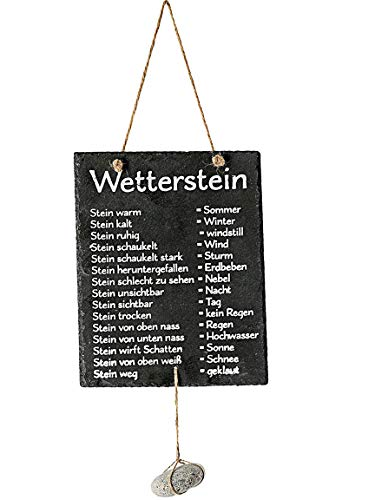 Bada Bing Schiefertafel Wetterstation Mit Stein Zum Hängen Spruch Für Garten Terrasse Balkon...
