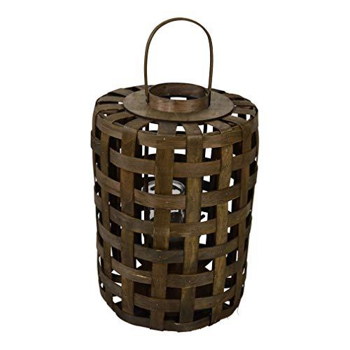 Lesli Living Windlicht Laterne Oman Holz ø45cm mit Henkel und Glaseinsatz (ø45x63cm)