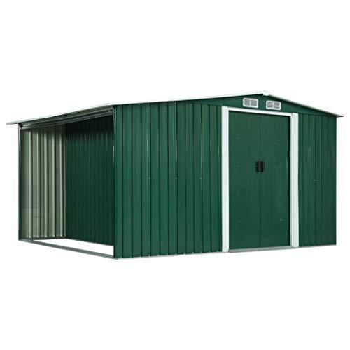 FAMIROSA Gerätehaus mit Schiebetüren Grün 329,5×259×178 cm Stahl