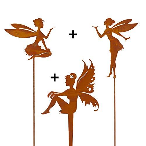 CIM Edelrost Pflanzenstecker – Set – Feen Trio – inkl. Standstab - attraktive Edelrost...