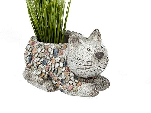 Formano Gartenfiguren Pflanzgefäß Katze in Kieselstein Optik aus wetterfestem Magnesia (bunt -...