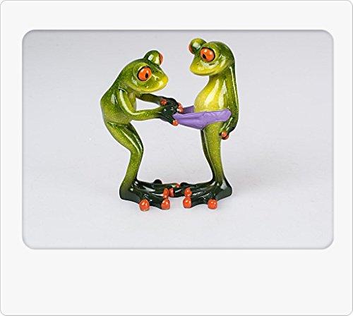 Formano Gartenfigur Froschpaar 14cm, hellgrün für Haus- und Gartendeko- Formano