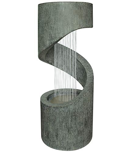 Dehner Gartenbrunnen Mali mit LED Beleuchtung, ca. 79.5 x 31.5 cm, Polyresin, grau