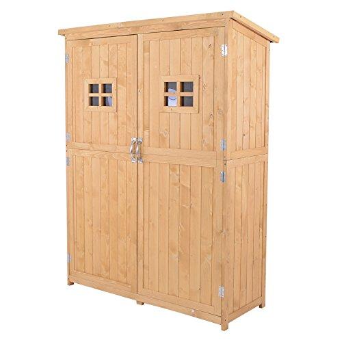 Outsunny Geräteschuppen Gerätehaus Geräteschrank Pultdach Garten Holz Natur 127,5x50x164cm