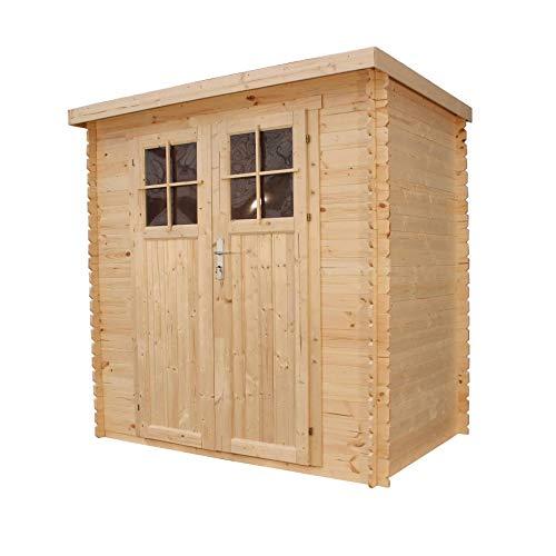 TIMBELA M311F Gartenhaus aus Holz im Freien - Kiefern- / Fichtenschuppen - Flachdach - H200 x 204 x...