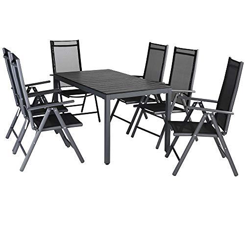 Casaria Aluminium Sitzgruppe 6 Klappstühle Hochlehner WPC Gartentisch 140x80 cm Sitzgarnitur Alu...