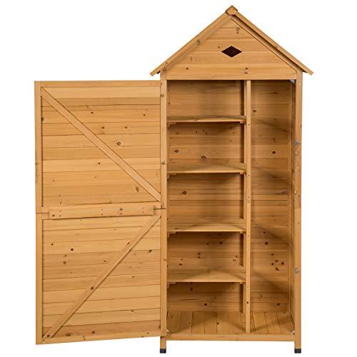 COSTWAY Gartenschrank Holz, Gerätehaus wetterfest, Geräteschuppen Werkzeugschrank Garten,...