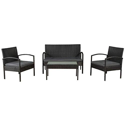 ArtLife Polyrattan Sitzgruppe Trinidad - Gartenmöbel Set mit Bank, Sessel & Tisch für 4 Personen -...