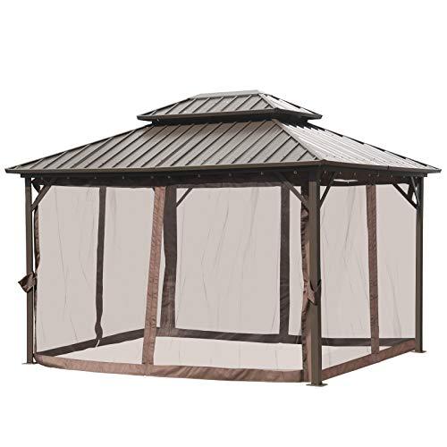 Outsunny Pavillon mit Seitenwände, Partyzelt mit Doppeldach, Festzelt, Gartenlaube, Aluminium, 3,65...