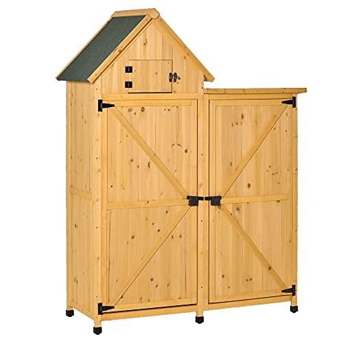 Outsunny Gartenhaus Gerätehaus Gartenschuppen Doppeltür-Design Holz für den außenbereich...