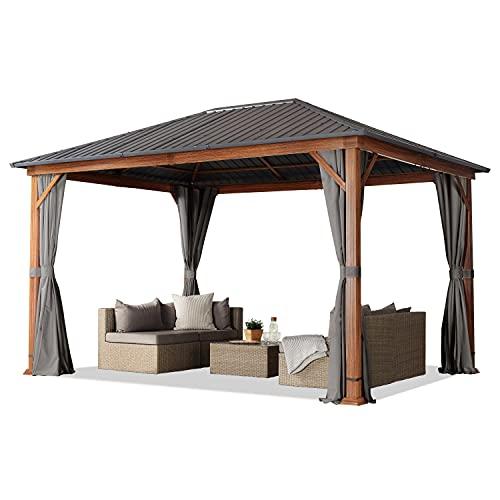 Gartenpavillon 3x4 m Holzoptik, Stahldach Hardtop 4 Seitenteile in grau