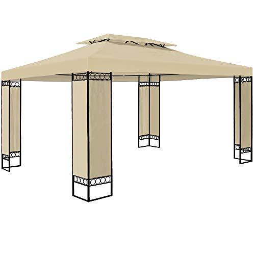 Deuba Pavillon Elda 3x4m Seitenwände Metall Gestell Eckig 12m² Festzelt Partyzelt Gartenlaube...