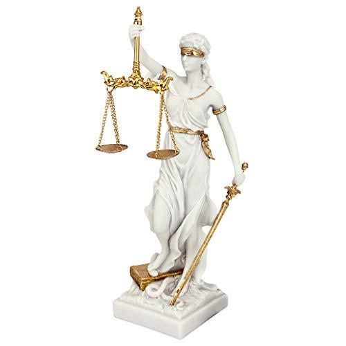 Design Toscano Göttin der Gerechtigkeit Themis Statue aus Marmor-Steinguss, Maße: 14 x 9 x 33 cm 1...