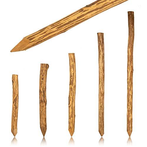 Zaunpfahl Haselnuss imprägniert · Angespitzte runde Holzpfosten in Ø 6-10cm in Länge 120cm