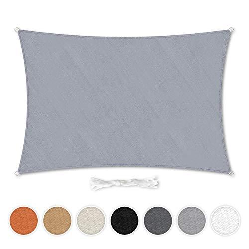 Hometex Premium Textiles Sonnensegel 2×4m Rechteckig inkl. Befestigungseile | Hellgrau |...
