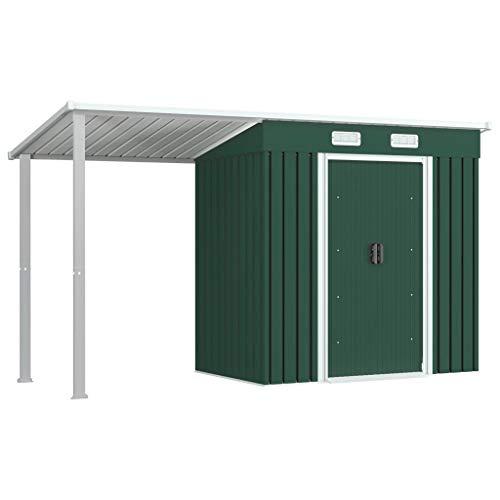 FAMIROSA Gerätehaus mit Vordach Grün 346×121×181 cm Stahl