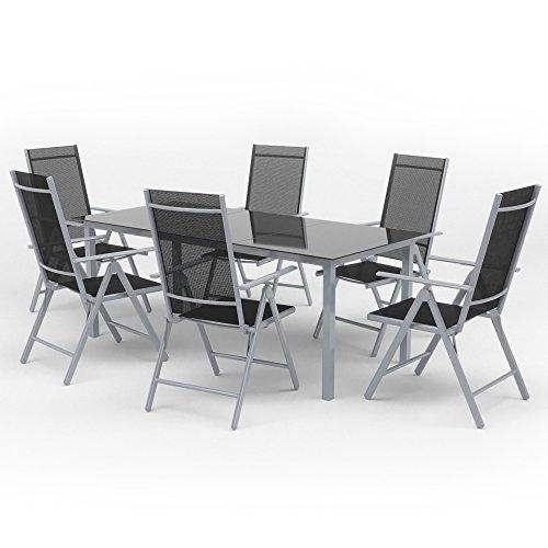 Oskar Alu Sitzgarnitur Gartenmöbel Set 7-teilig Garnitur Sitzgruppe 1 Tisch 190x87 + 6 Stühle...