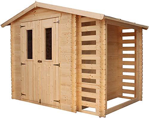 TIMBELA M386C Gartenhaus mit Holzschuppen für den Außenbereich - Kiefern- / Fichtenschuppen - H218...
