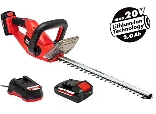 Grizzly Akku-Heckenschere mit 20 V, 2,0 Ah Lithium Ionen Akku und Schnellladegerät, Lasercut Messer...