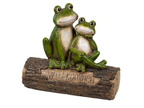 formano Gartenfigur Frosch grün Magnesia wetterfest Froschfiguren (grün - Willkommen)